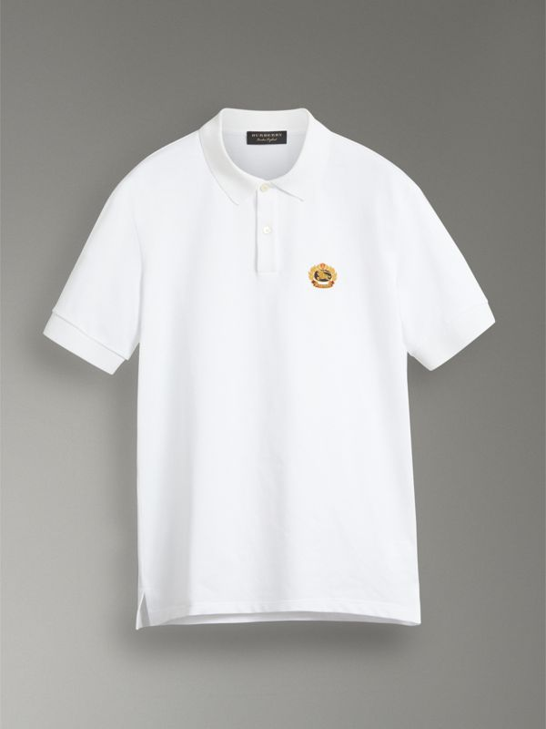 Reissued Cotton Polo Shirt in White - Men | Burberry Singapore - cell image 3