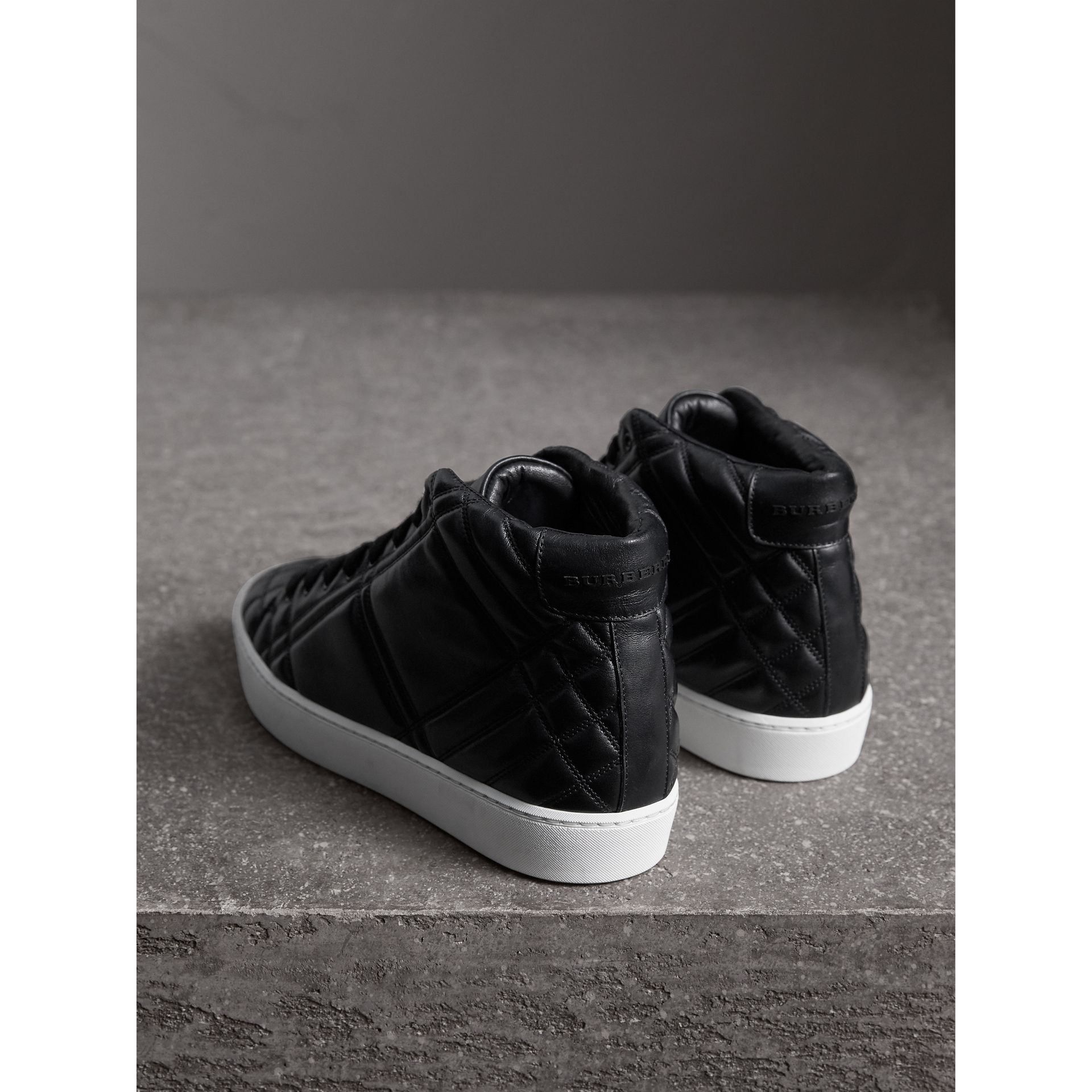Check-quilted Leather High-top Trainers in Black - Women | Burberry - gallery image 3