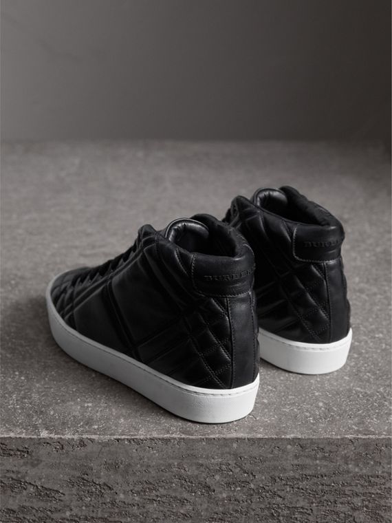 Check-quilted Leather High-top Sneakers in Black - Women | Burberry - cell image 3