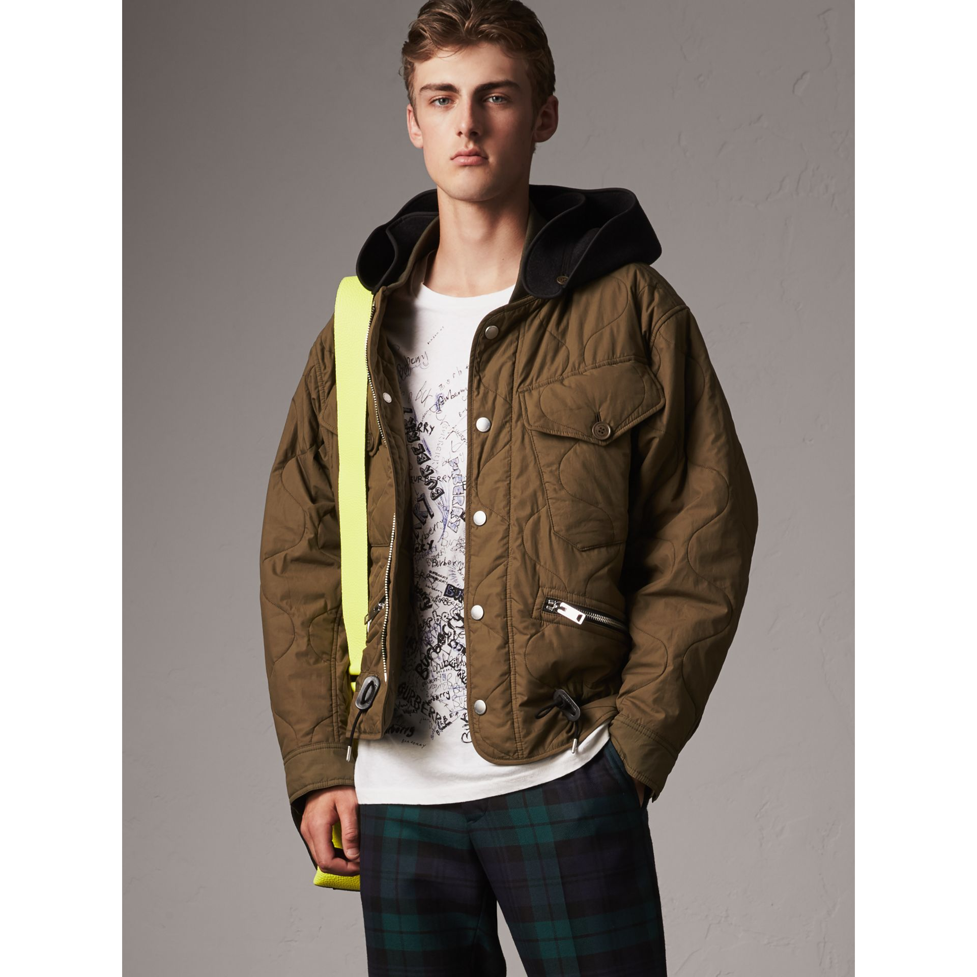Detachable Hood Quilted Cotton Bomber Jacket in Olive Green - Men | Burberry - gallery image 6