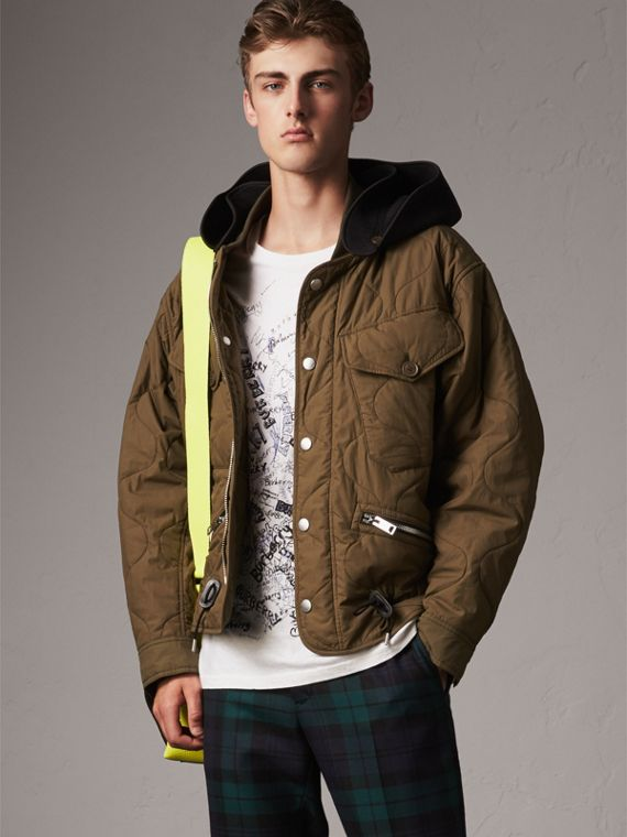 Detachable Hood Quilted Cotton Bomber Jacket in Olive Green