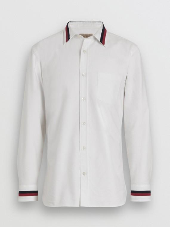 Oxford-Hemd aus Baumwolle mit Strickdetail (Weiss)