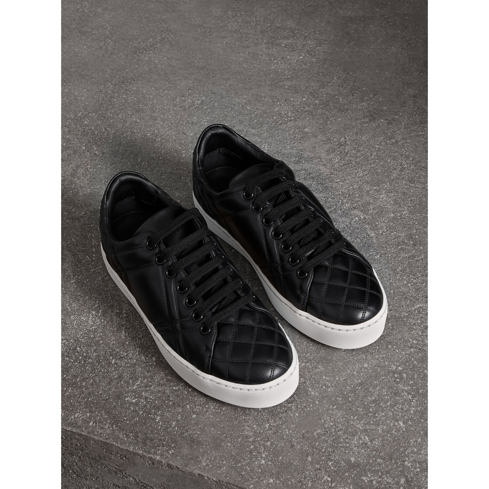 Check-quilted Leather Trainers in Black - Women | Burberry - gallery image 0