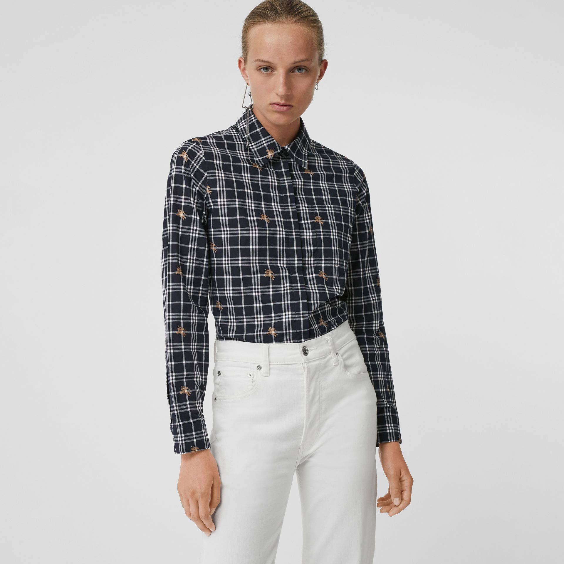 Equestrian Knight Check Cotton Shirt in Navy - Women | Burberry - gallery image 0