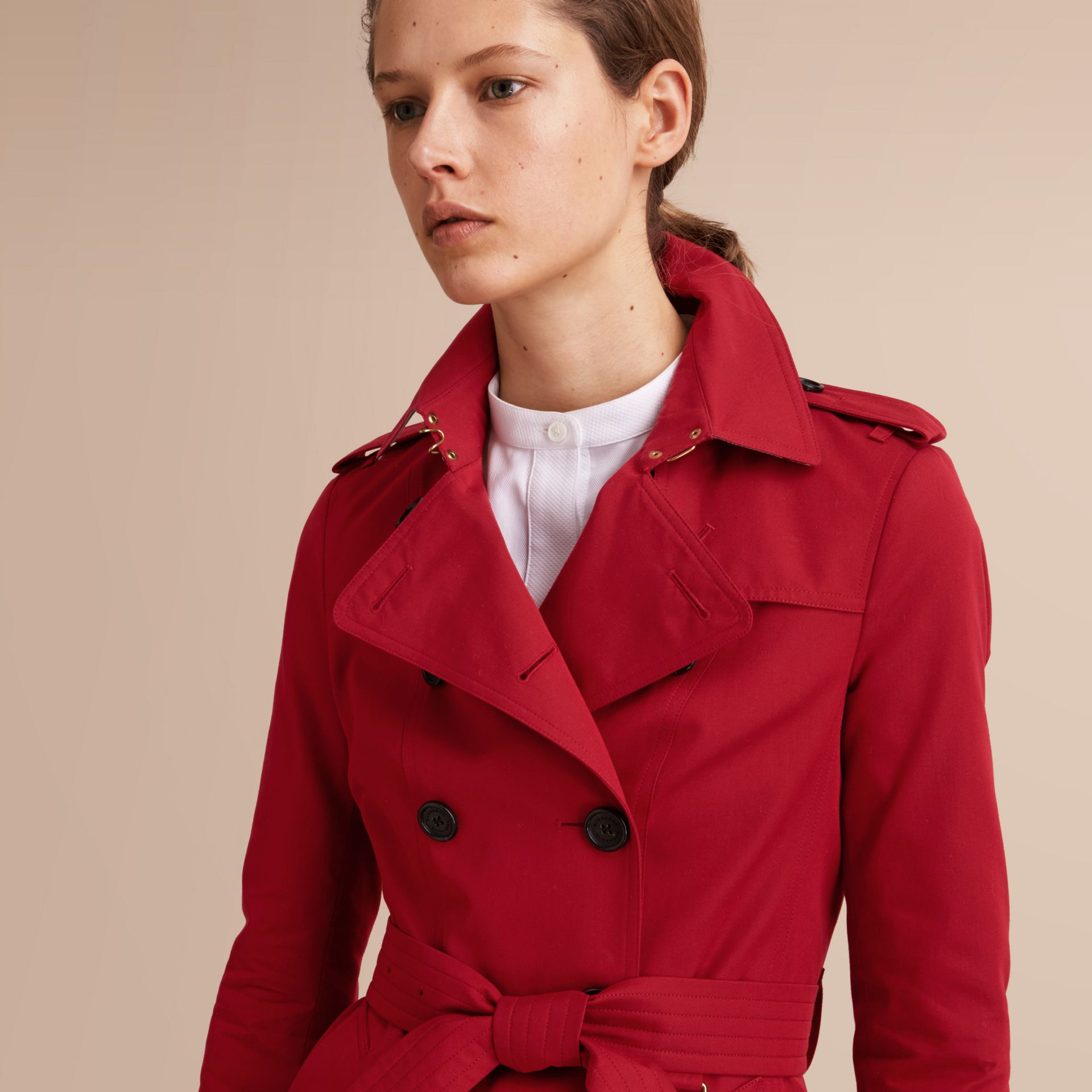The Sandringham – Short Heritage Trench Coat in Parade Red - gallery image 6