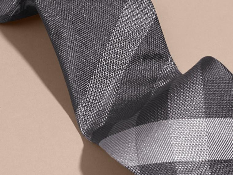 Dark charcoal Modern Cut Beat Check Silk Tie - cell image 1
