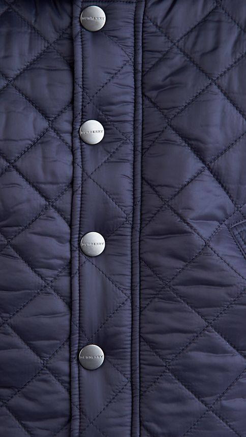 Military navy Check Detail Diamond Quilted Jacket - Image 3