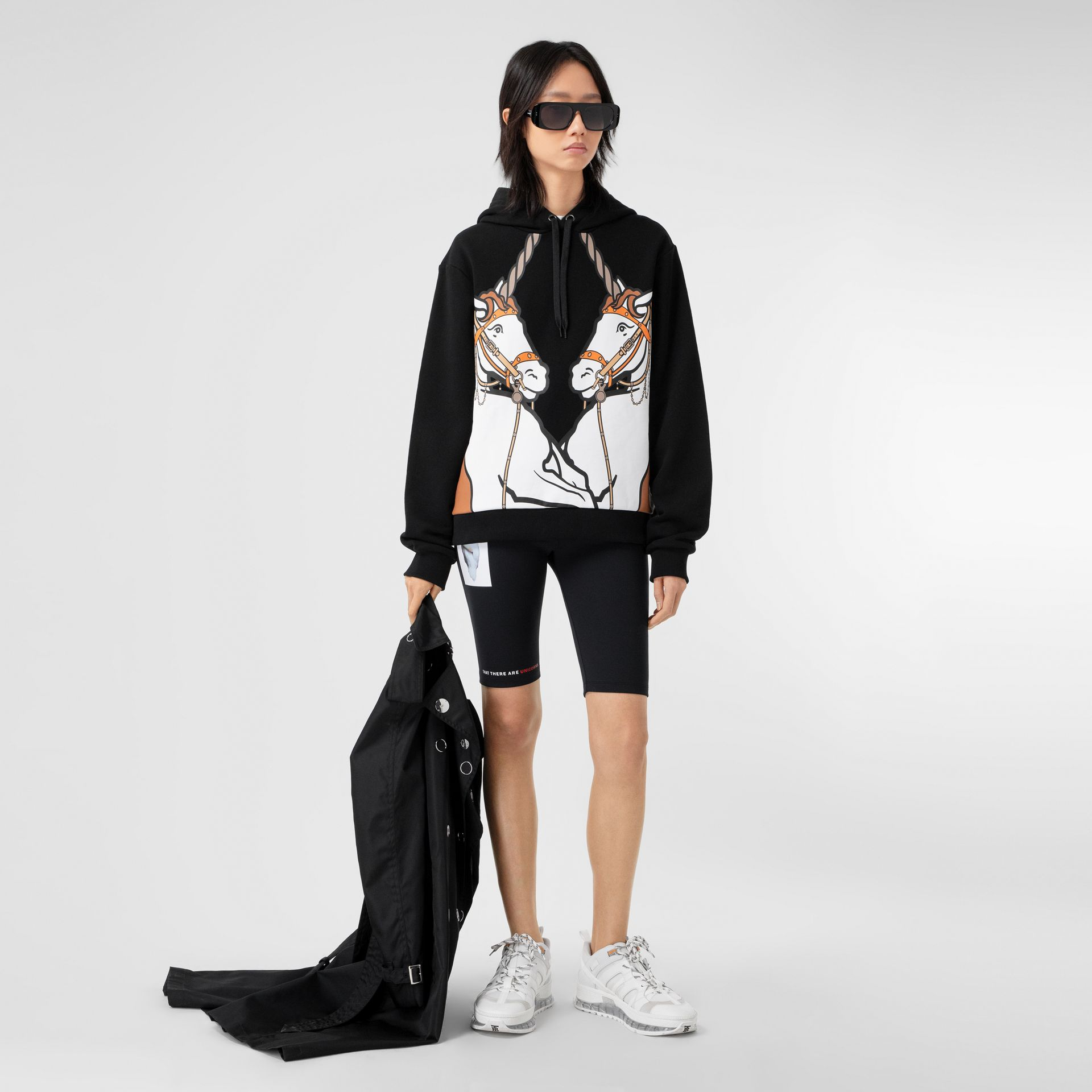 Unicorn Print Cotton Oversized Hoodie in Black - Women | Burberry Hong Kong S.A.R - gallery image 0