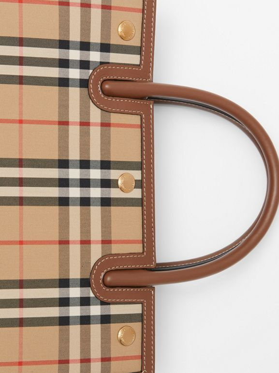 Mini Vintage Check Two-handle Title Bag in Archive Beige - Women | Burberry - cell image 1