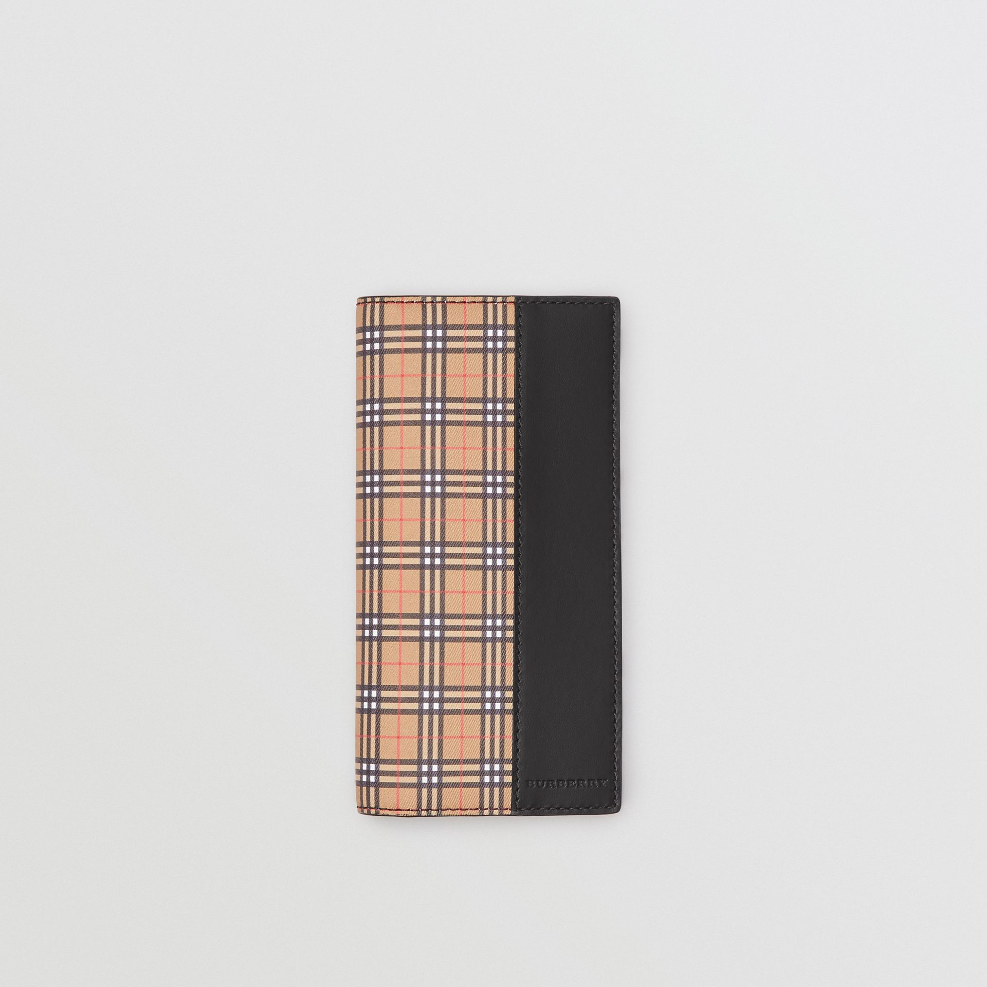 Small Scale Check and Leather Continental Wallet in Antique Yellow/black - Men | Burberry United Kingdom - gallery image 0