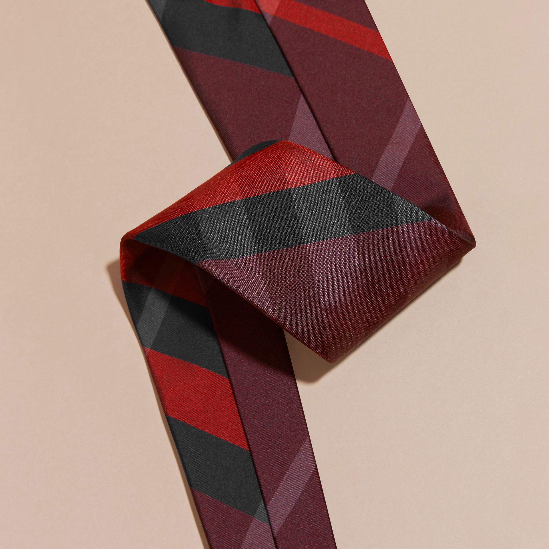 Burgundy red Classic Cut Check Silk Tie Burgundy Red - gallery image 2
