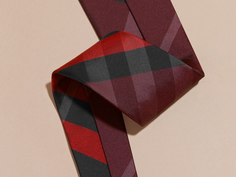 Burgundy red Classic Cut Check Silk Tie Burgundy Red - cell image 1