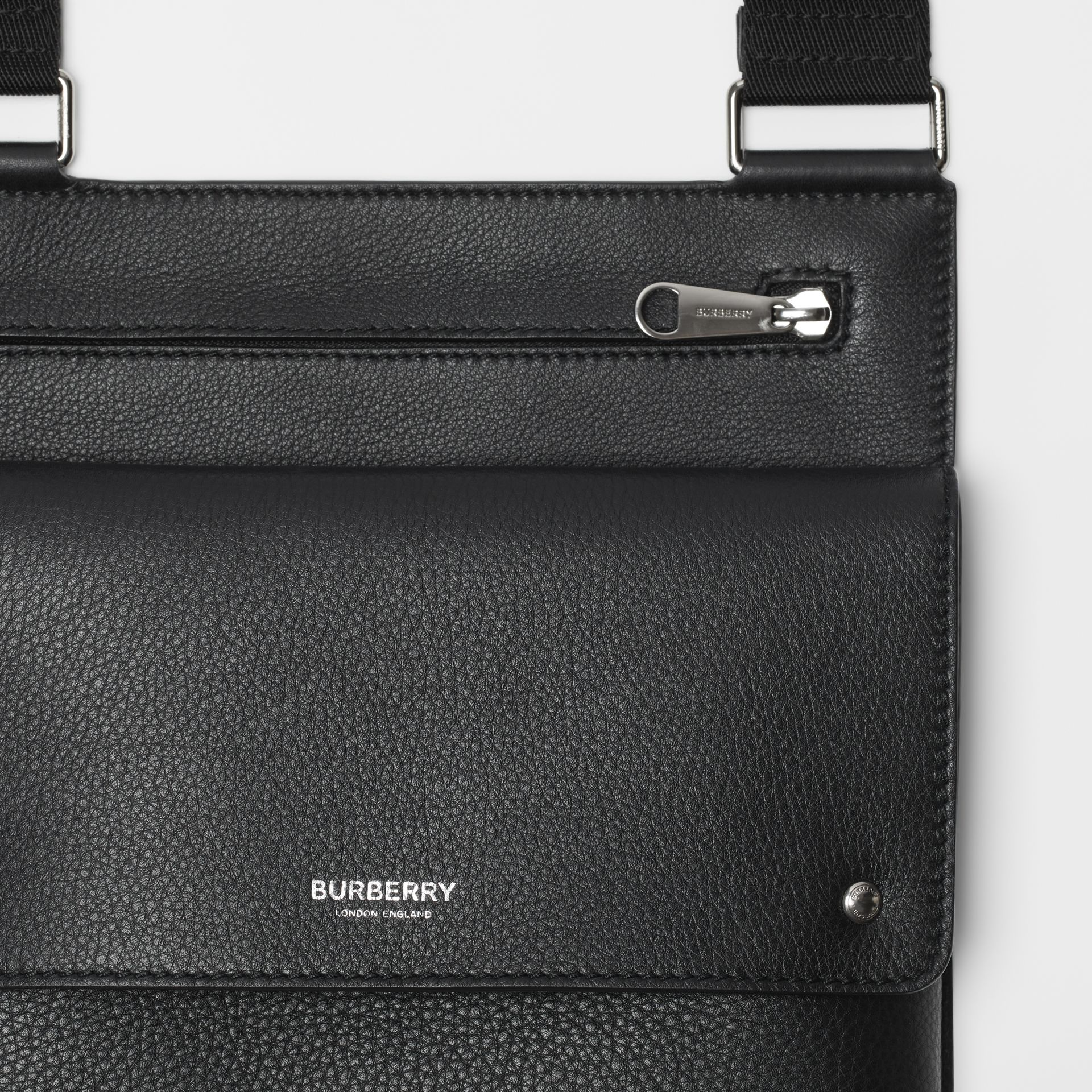 Grainy Leather Crossbody Bag in Black - Men | Burberry Singapore - gallery image 1
