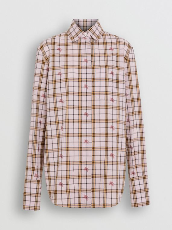Fil Coupé Check Cotton Shirt in Alabaster Pink