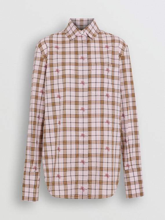 Camicia in cotone con motivo tartan e lavorazione a fil coupé (Rosa Alabastro)
