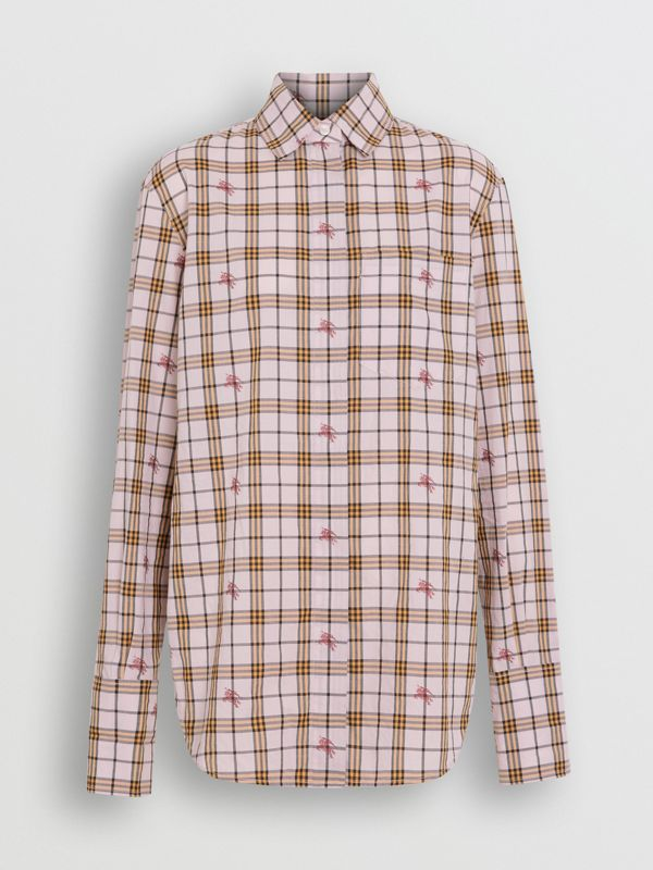 Fil Coupé Check Cotton Shirt in Alabaster Pink - Women | Burberry United Kingdom - cell image 3