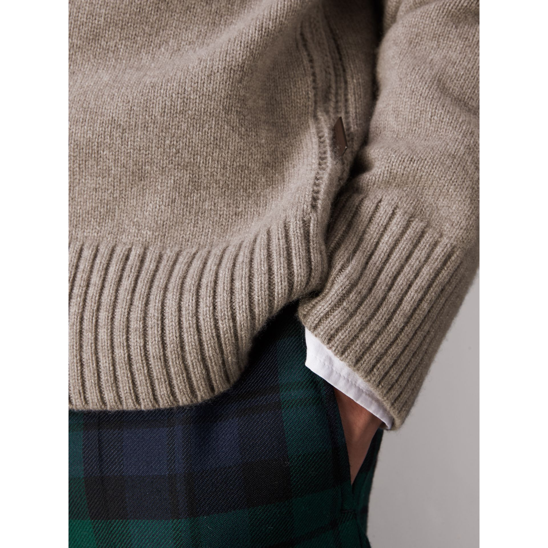 Open-knit Detail Wool Cashmere Sweater in Camel Melange - Men | Burberry United States - gallery image 2