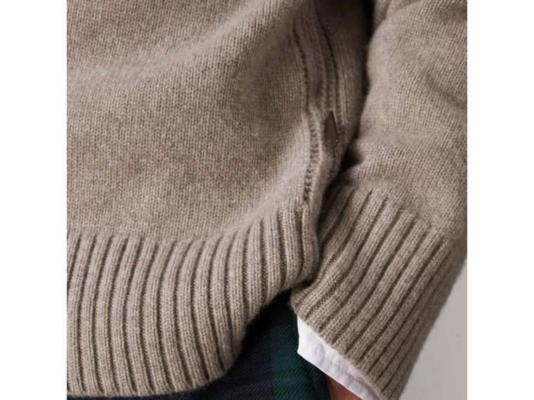 Open-knit Detail Wool Cashmere Sweater in Camel Melange - Men | Burberry United States - cell image 1