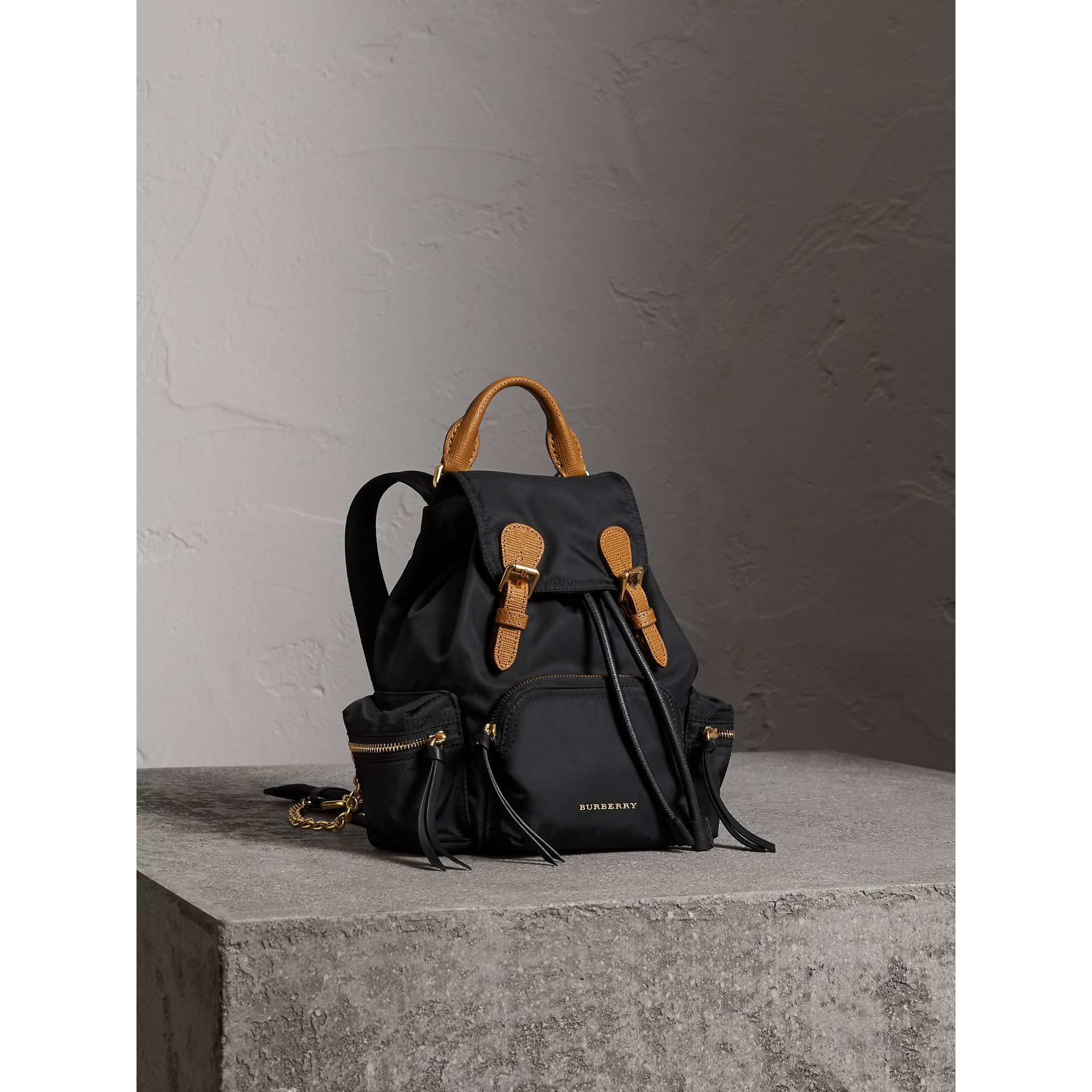 The Small Rucksack in Technical Nylon and Leather in Black - Women | Burberry Hong Kong - gallery image 8