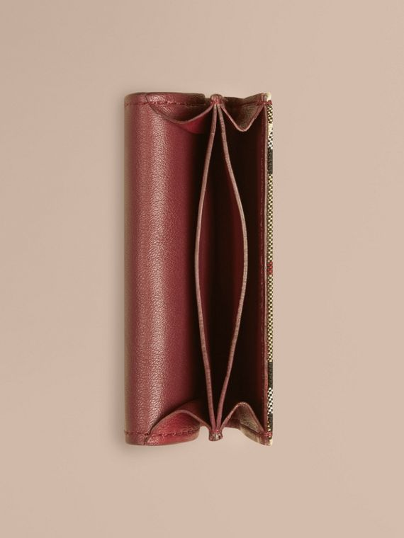 Dark plum Horseferry Check and Leather Card Case Dark Plum - cell image 3