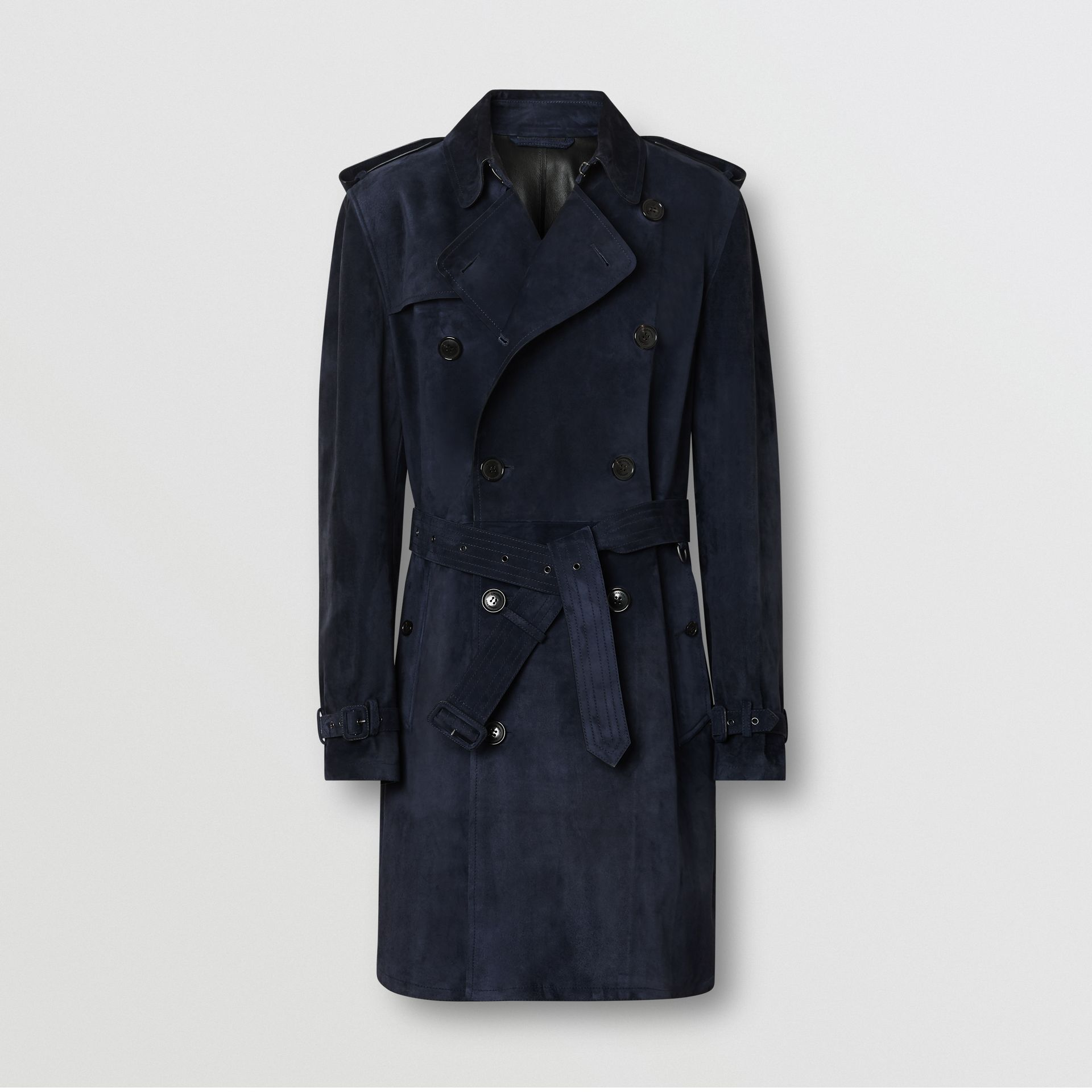 Suede Trench Coat in Navy - Men | Burberry - gallery image 3