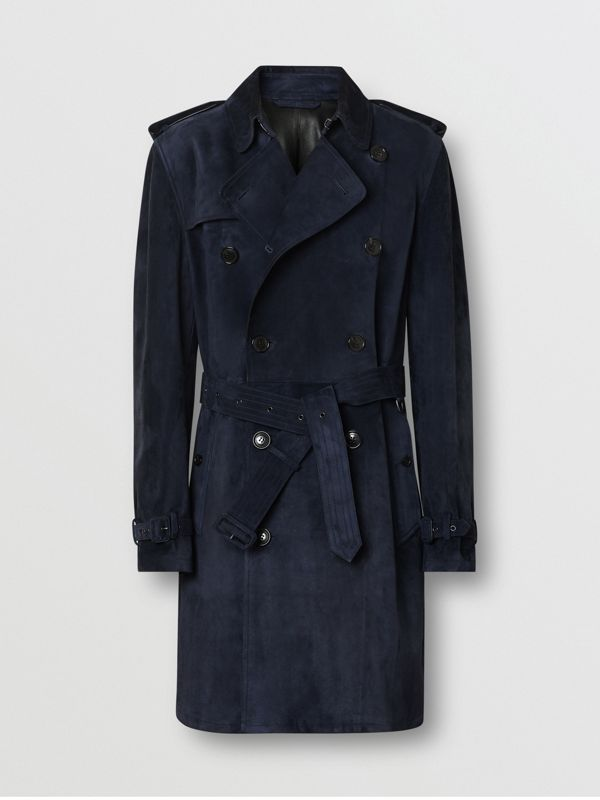 Suede Trench Coat in Navy - Men | Burberry - cell image 3