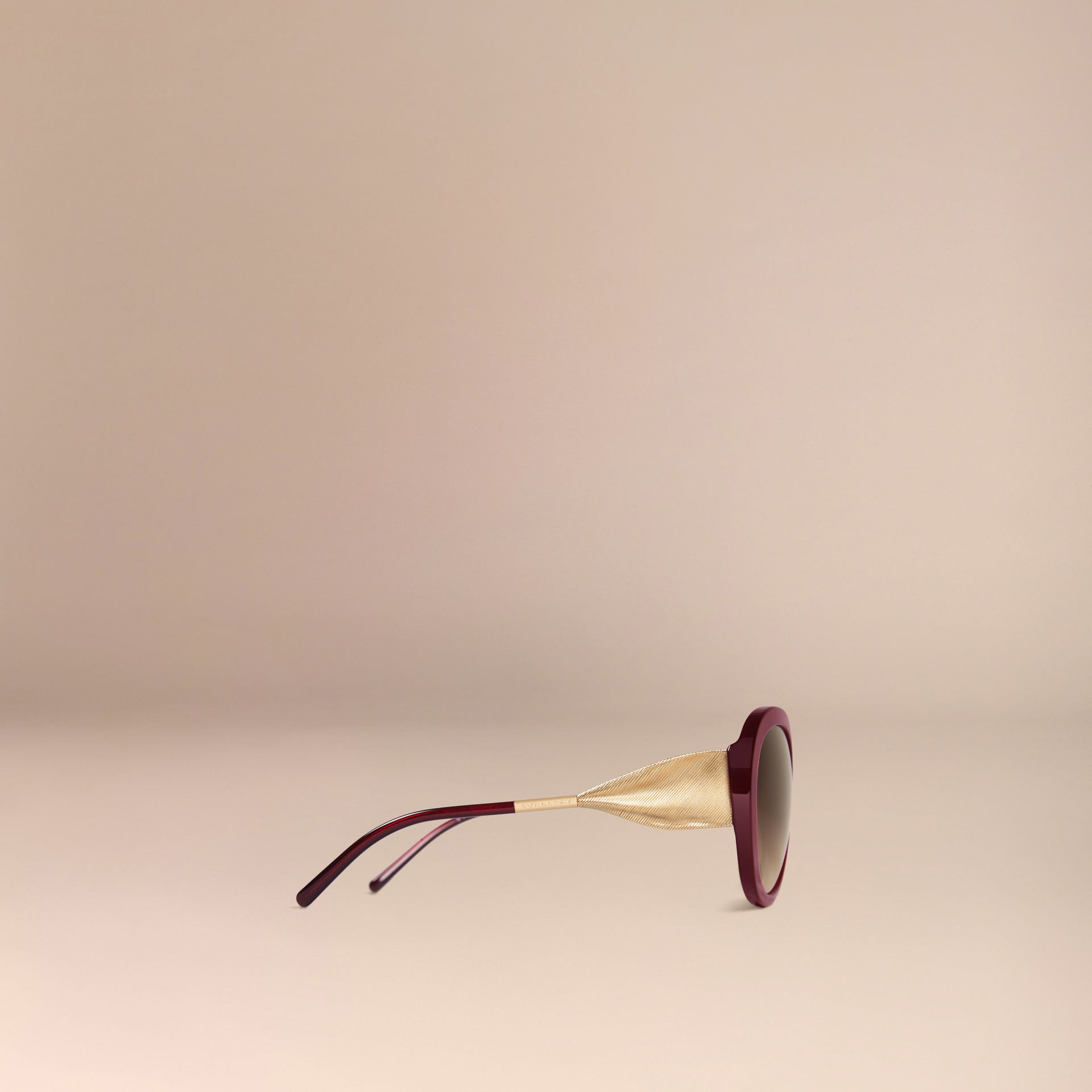 Oxblood Gabardine Collection Oversize Round Frame Sunglasses Oxblood - gallery image 5