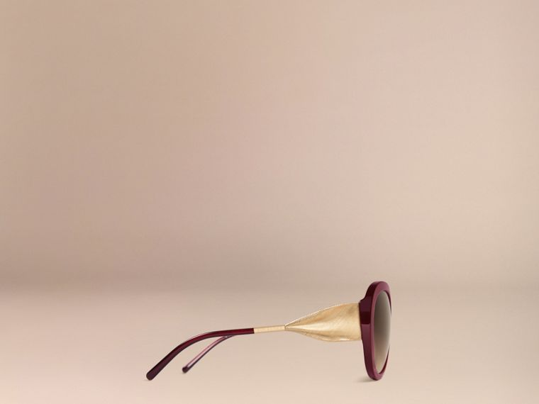Oxblood Gabardine Collection Oversize Round Frame Sunglasses Oxblood - cell image 4