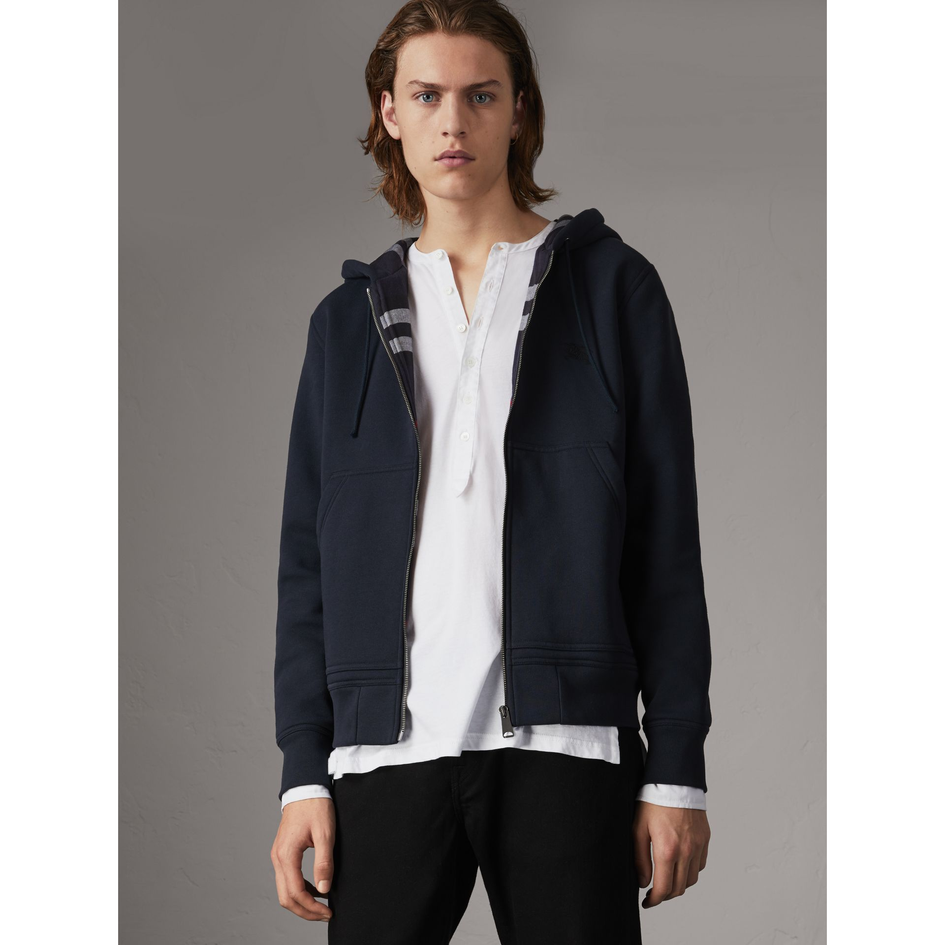 Check Detail Jersey Hooded Top in Navy - Men | Burberry - gallery image 0