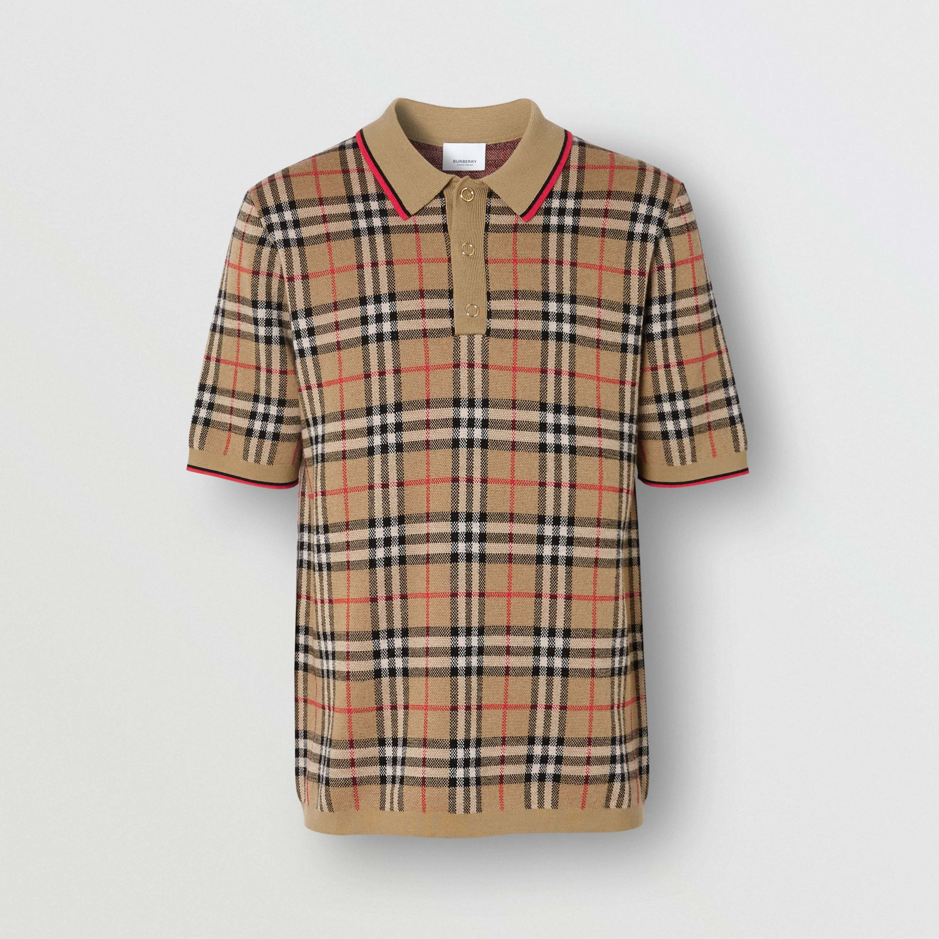 Vintage Check Merino Wool Polo Shirt in Archive Beige - Men | Burberry - gallery image 3