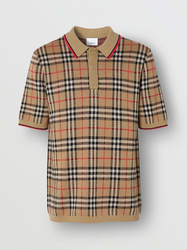 Vintage Check Merino Wool Polo Shirt in Archive Beige - Men | Burberry United States - cell image 3