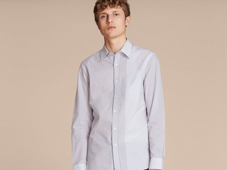 Panelled Stripe Cotton Shirt Light Blue - cell image 4