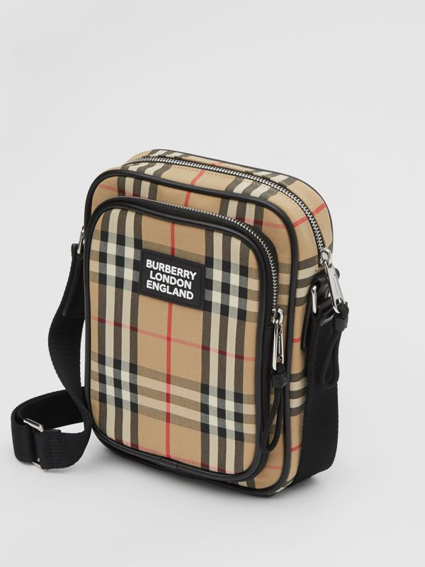 Vintage Check and Leather Crossbody Bag in Archive Beige - Men | Burberry - cell image 3
