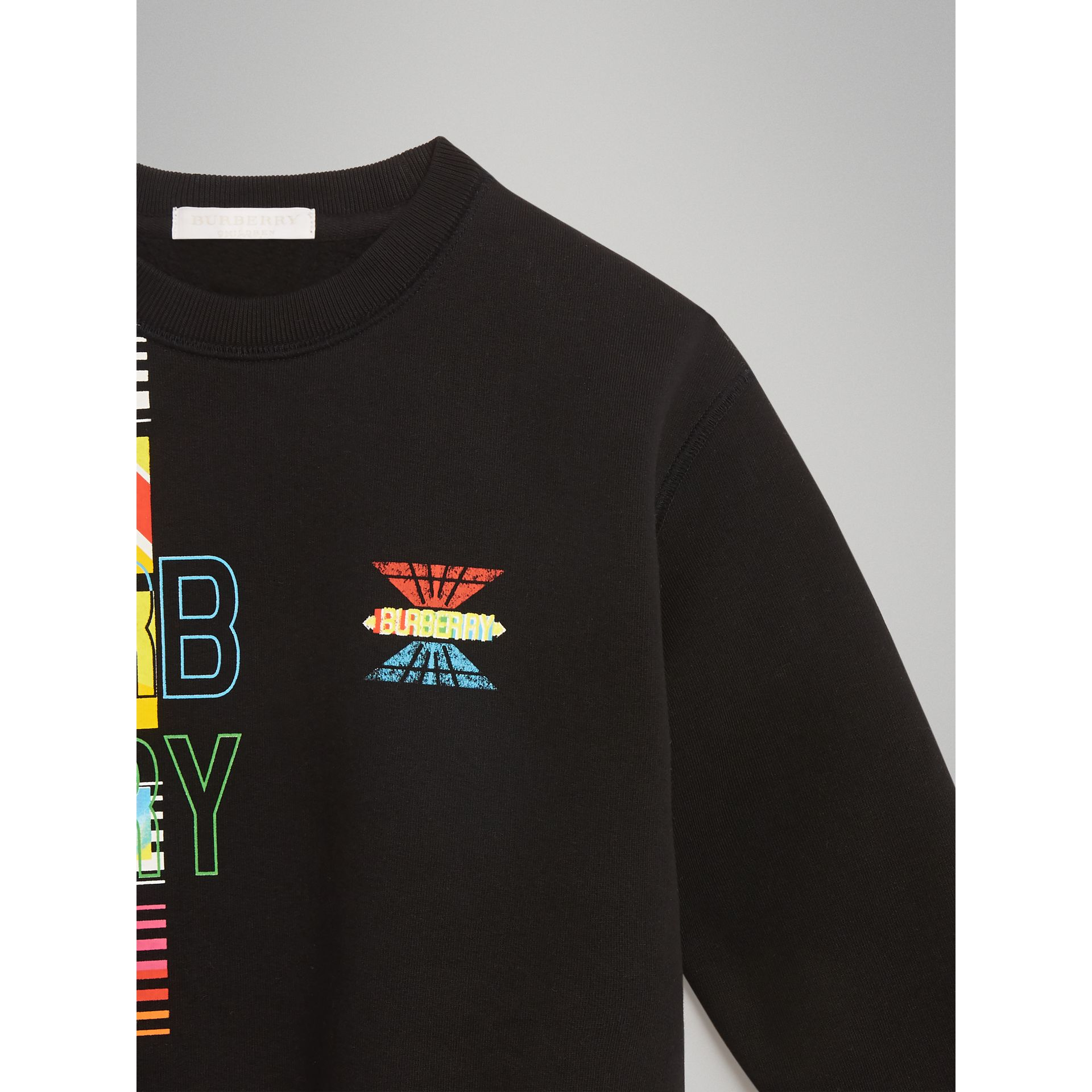 Logo Print Jersey Sweatshirt in Black | Burberry - gallery image 4