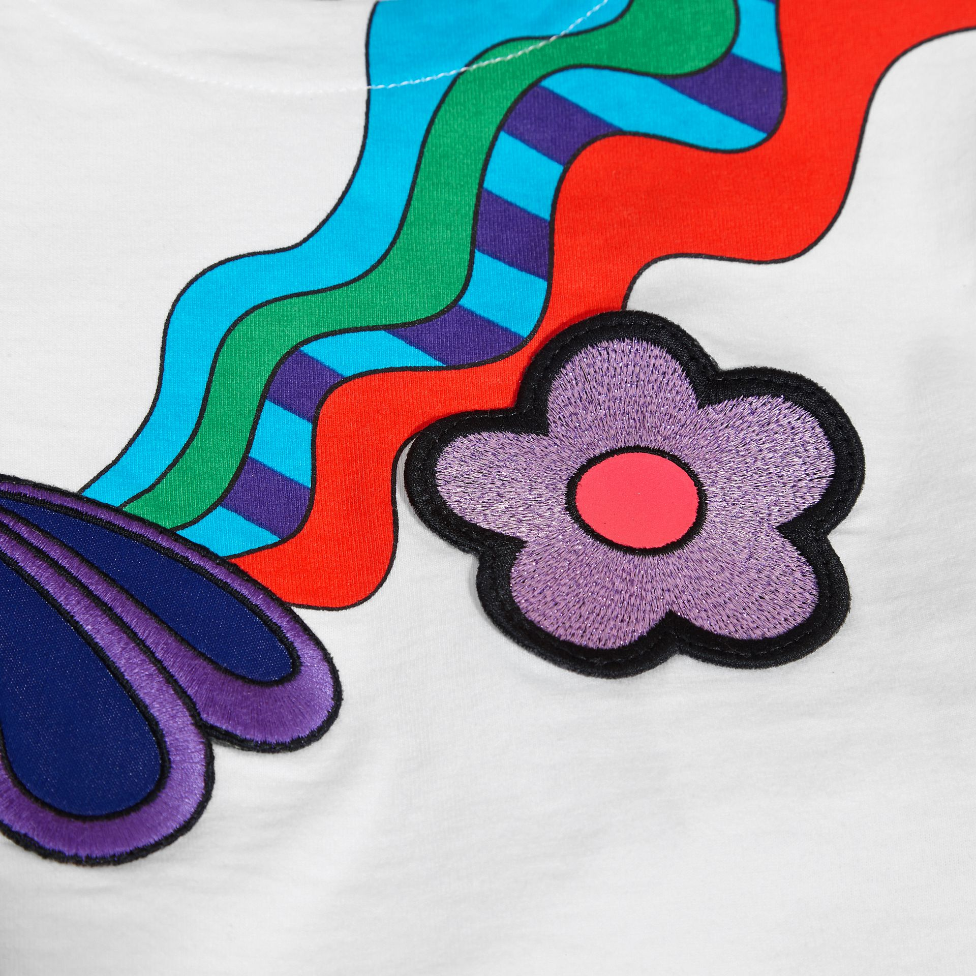 White Graphic Print Cotton T-shirt with Appliqué - gallery image 2