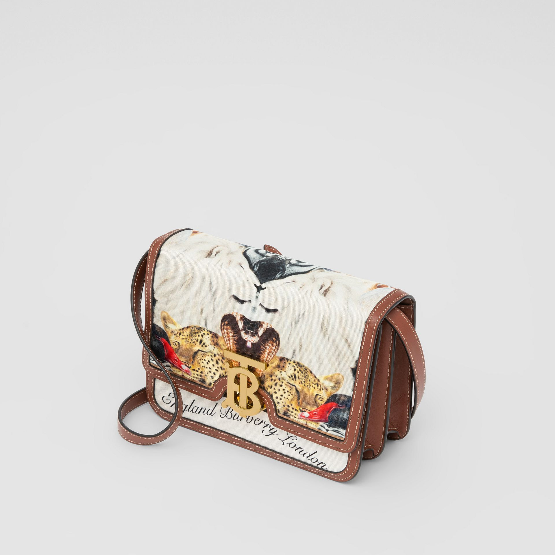 Small Animalia Print Silk and Leather TB Bag in Tan - Women | Burberry Australia - gallery image 3