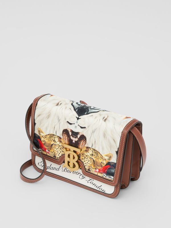 Small Animalia Print Silk and Leather TB Bag in Tan - Women | Burberry Australia - cell image 3