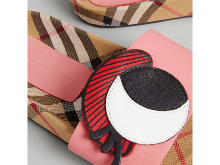 Eye Appliqué Vintage Check and Leather Slides in Pink Azalea | Burberry - cell image 1