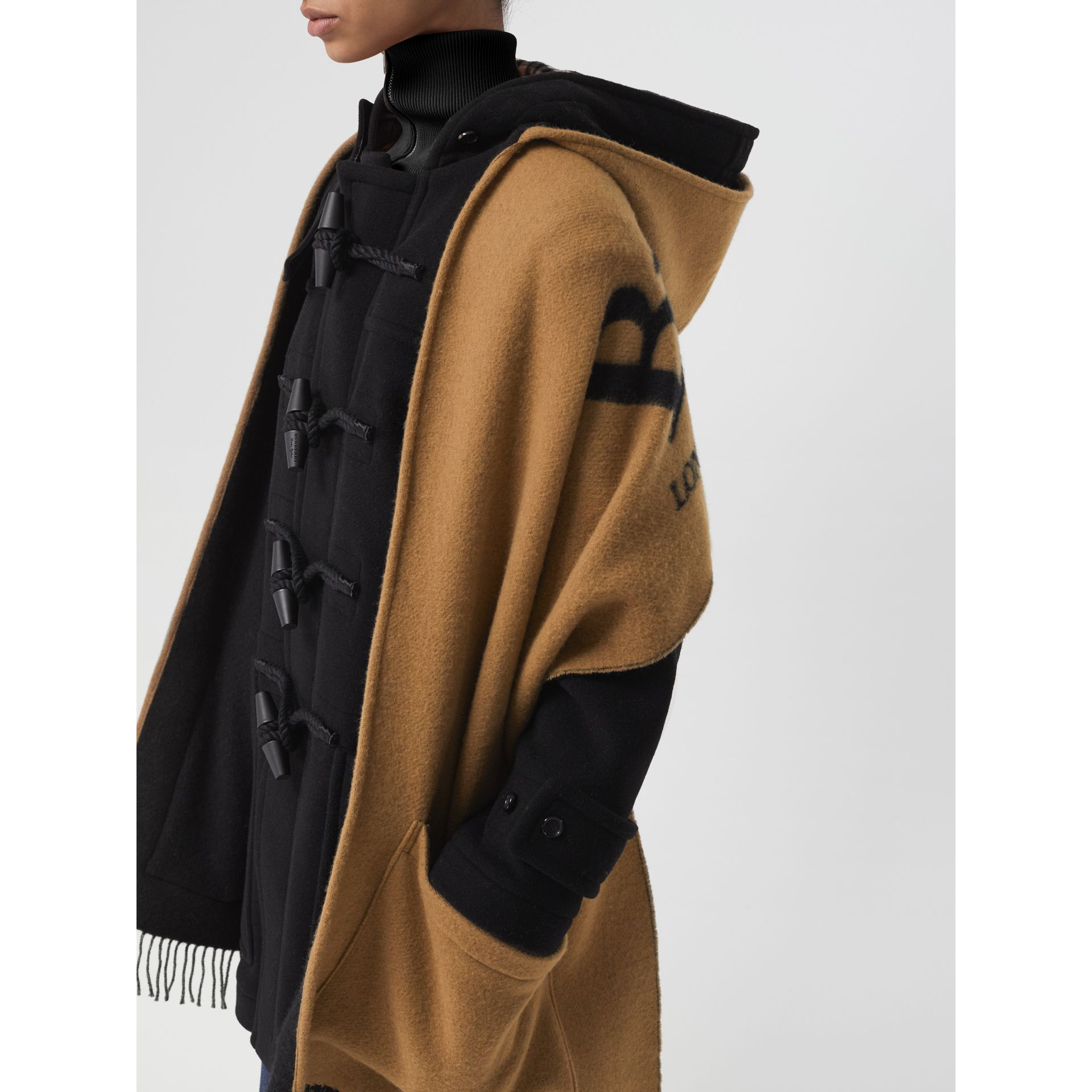 Wool Blend Duffle Coat in Black - Women | Burberry Australia - gallery image 1