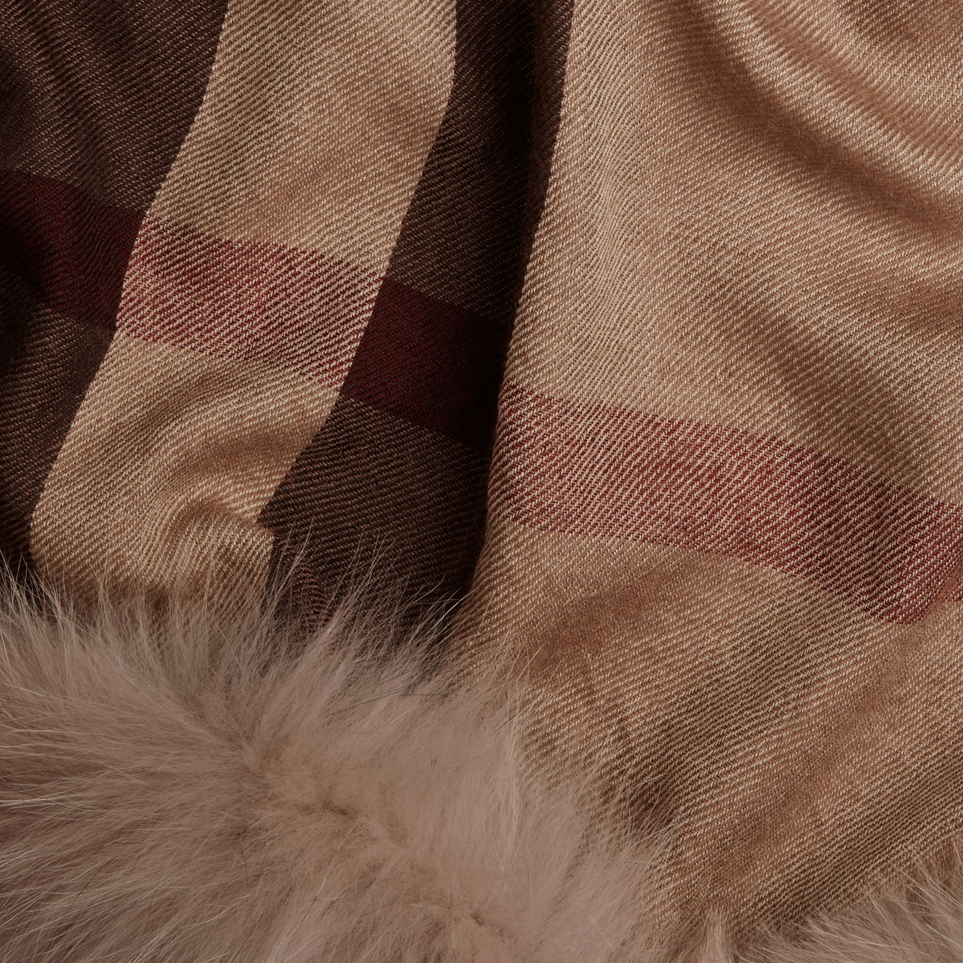 Smoked trench check Fur Trim Cashmere Check Scarf Smoked Trench - gallery image 2