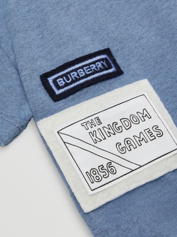 Logo Montage Cotton T-shirt in Dusty Blue - Children | Burberry - cell image 1