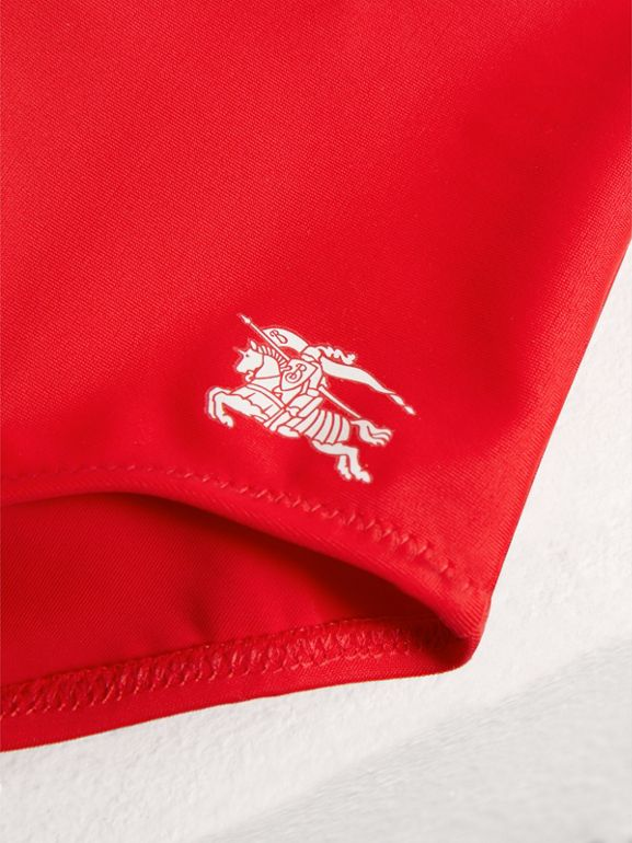 Ruffle Detail One-piece Swimsuit in Poppy Red | Burberry - cell image 1