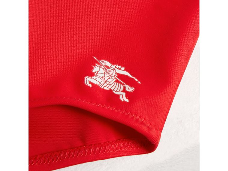 Ruffle Detail One-piece Swimsuit in Poppy Red - Girl | Burberry United Kingdom - cell image 1