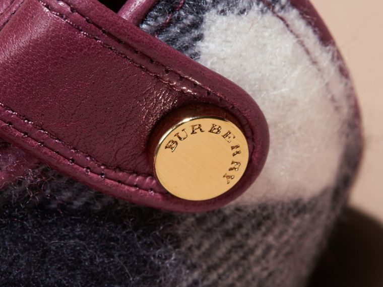 Leather and Check Cashmere Gloves in Fuchsia - Women | Burberry - cell image 1