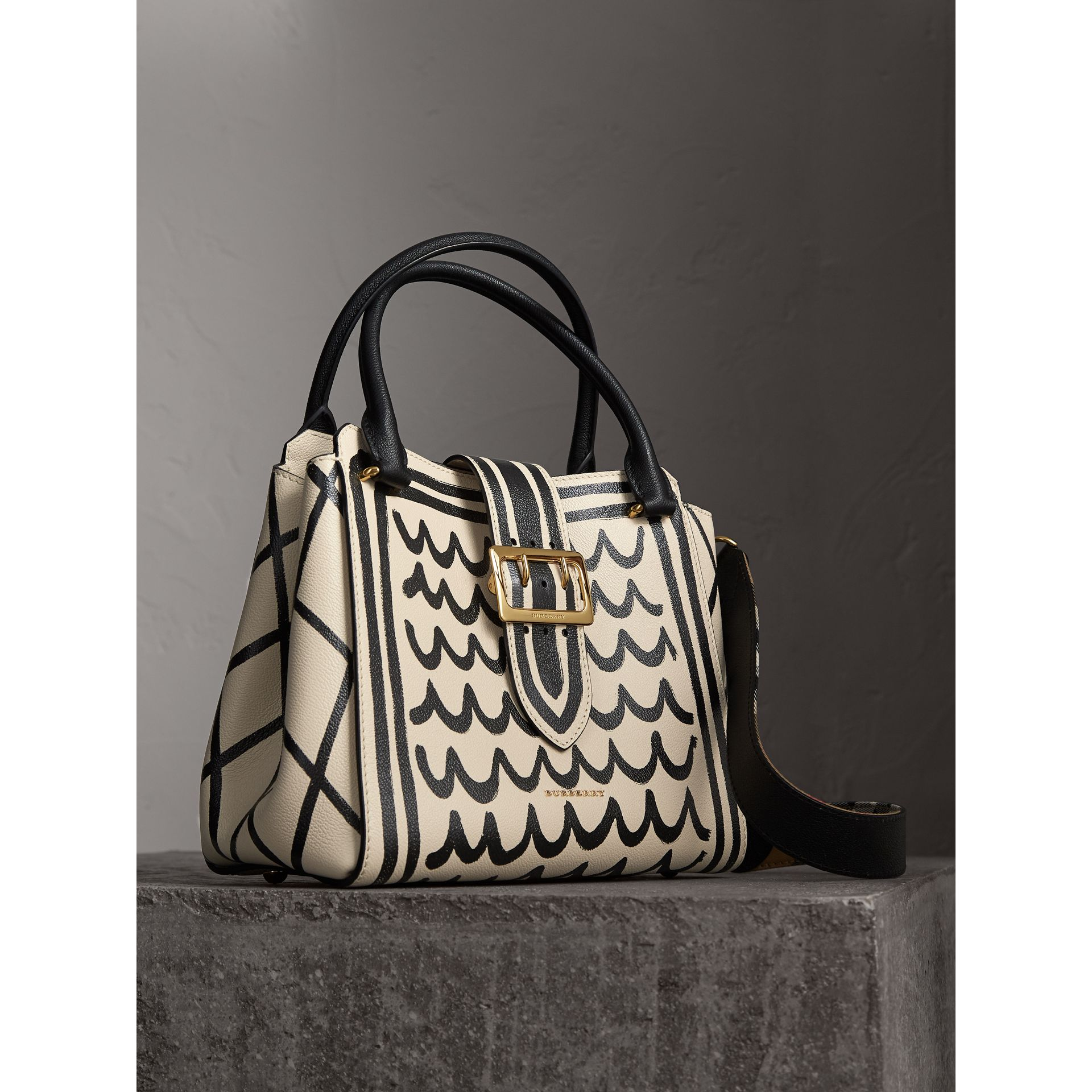 The Medium Buckle Tote in Trompe L'oeil Print Leather in Limestone - Women | Burberry - gallery image 7