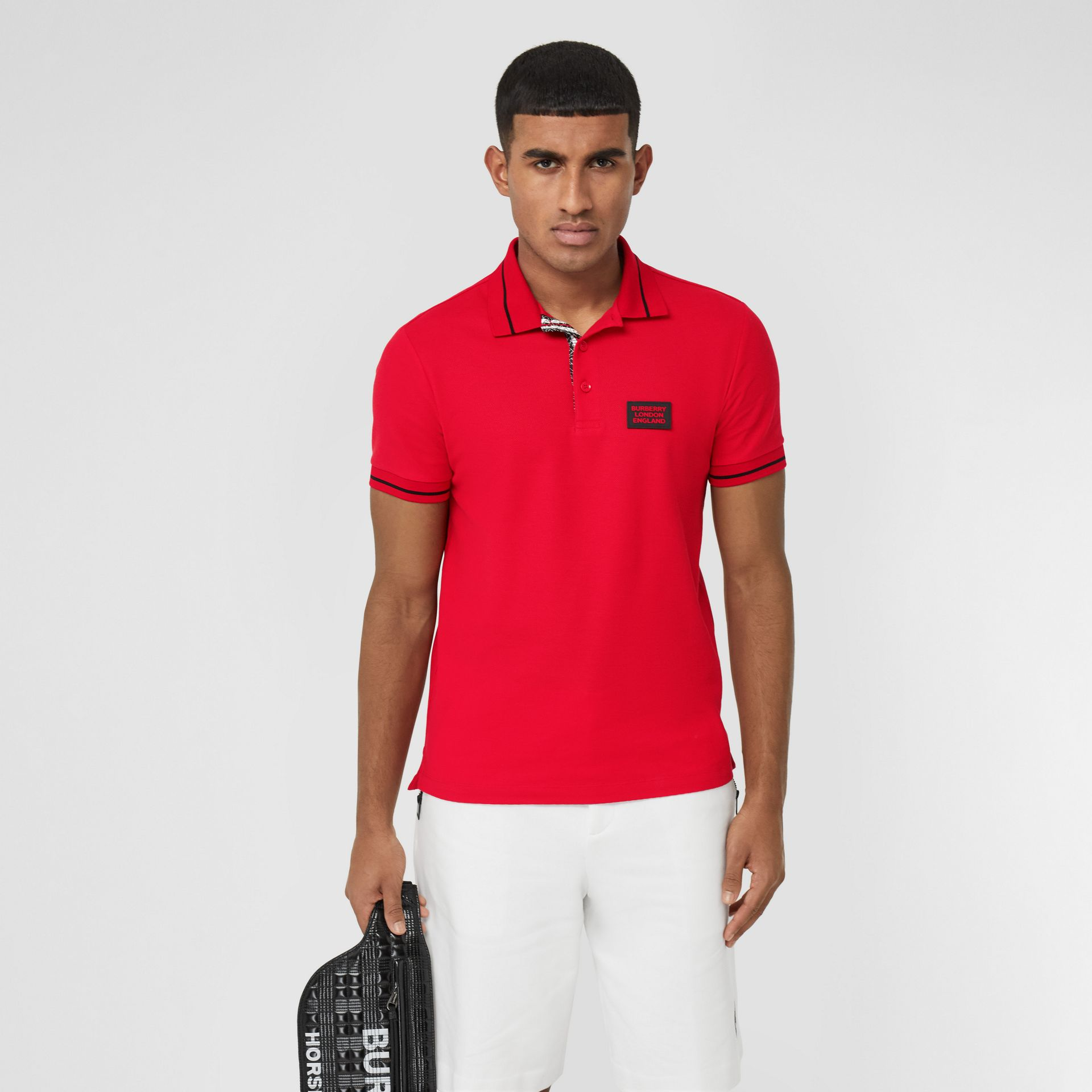 Logo Appliqué Cotton Piqué Polo Shirt in Bright Red - Men | Burberry - gallery image 0