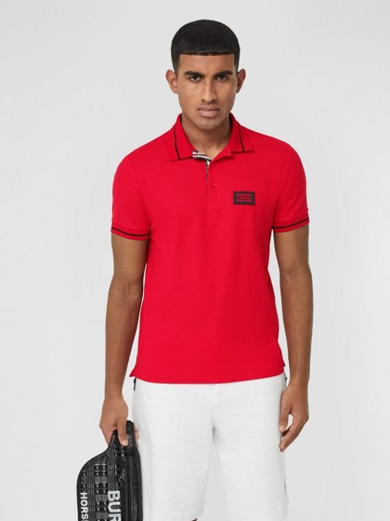 Logo Appliqué Cotton Piqué Polo Shirt in Bright Red