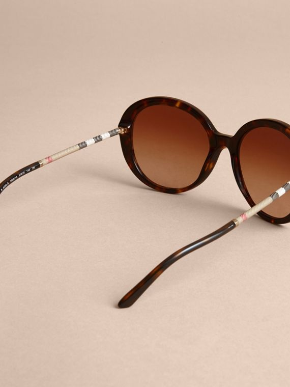 Check Detail Round Frame Sunglasses in Tortoise Shell - Women | Burberry - cell image 3