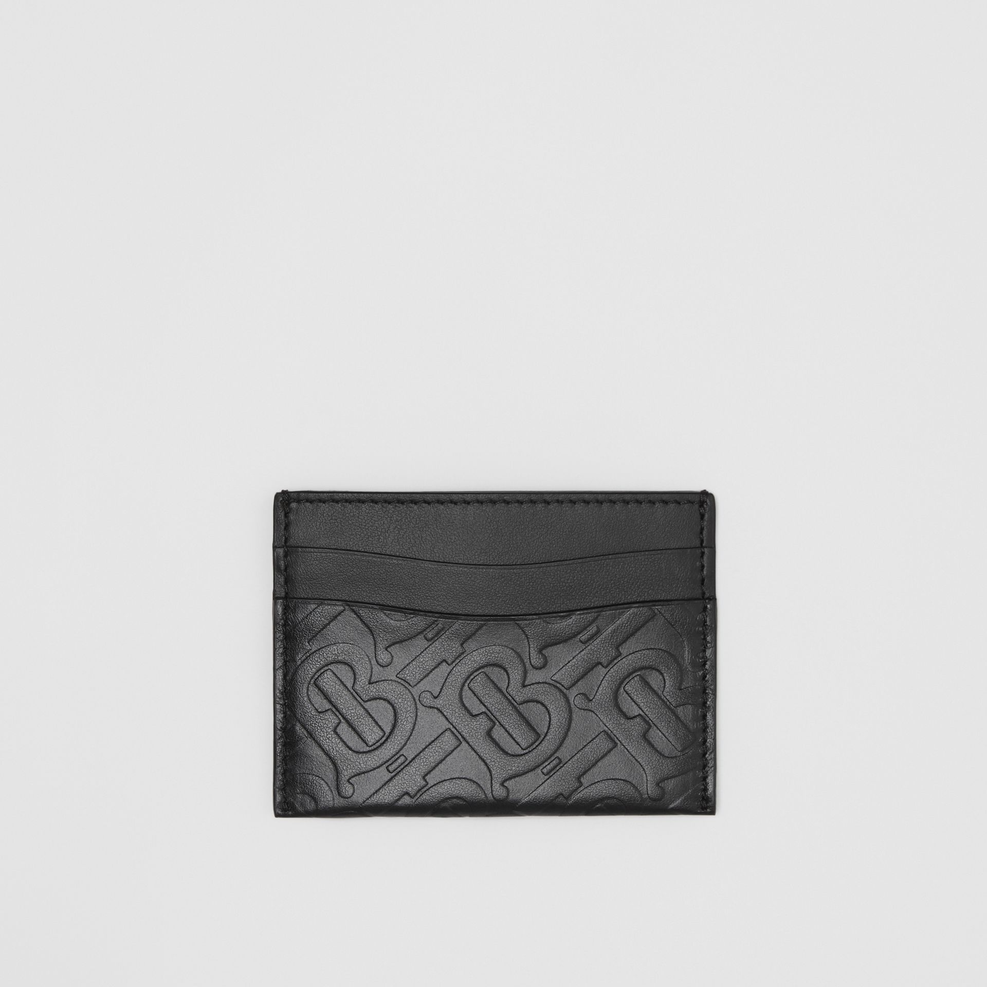 Monogram Leather Card Case in Black - Women | Burberry - gallery image 0