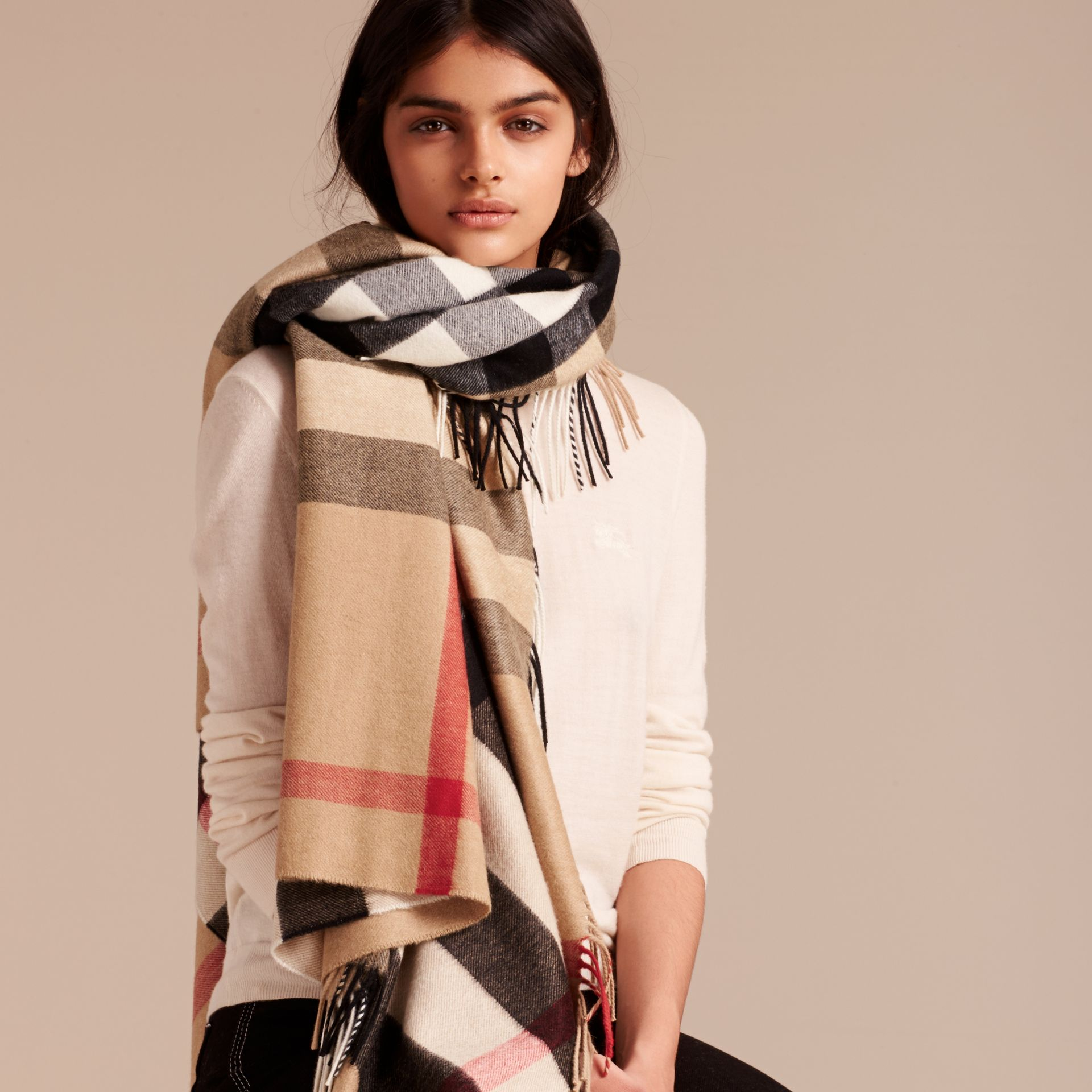 Check Cashmere and Wool Poncho in Camel - Women | Burberry Singapore - gallery image 3
